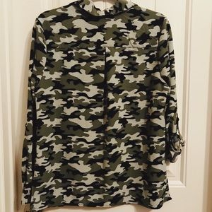 Notations Tops - Camo blouse. New with tags. Roll up sleeves.